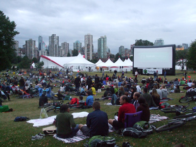 Bike-in movie at Vanier Park on the opening day of the Burrard Bridge trial