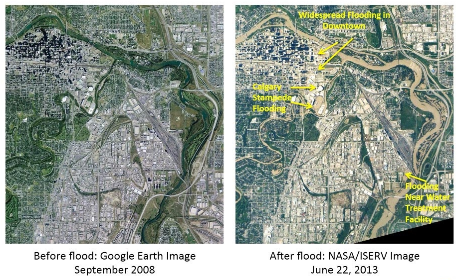 The NASA ISERV camera on the International Space Station captured these pictures before and after the flood.
