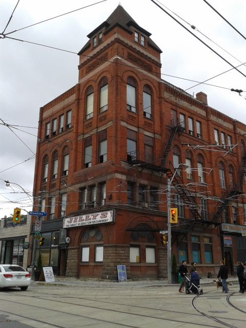 Queen and Broadview, until recently home to Jilly's adult entertainment. The New Broadview Hotel is currently undergoing a major redevelopment through Streetcar Development