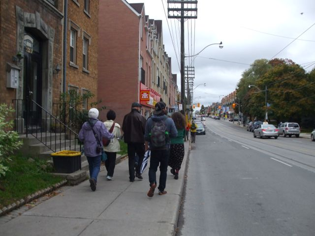 The pedestrian amenities are minimal east of Woodbine