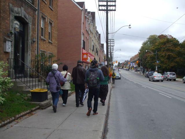 The pedestrian amenities are minimal east of Woodbine