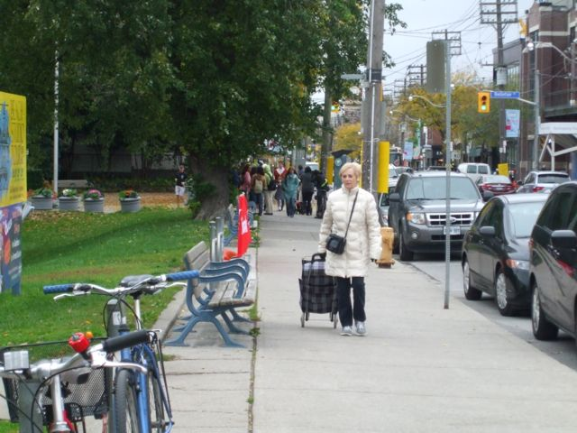 Bike parking and seating in front of the Beaches Library
