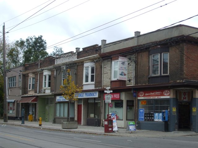 The northern side of the street at Queen and Craven shows a very different view--the old main street shops