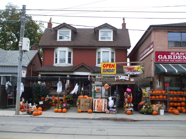 East End Garden and Hardware Centre spilled out onto the south side of the street with its Halloween display