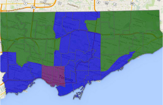 The Globe and Mail published this election results map showing John Tory's support in blue, Olivia Chow in purple and Rob Ford in green
