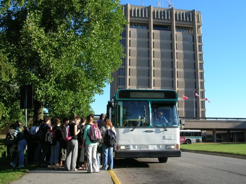 Passengers line up for the bus at St. Catharines' Brock University