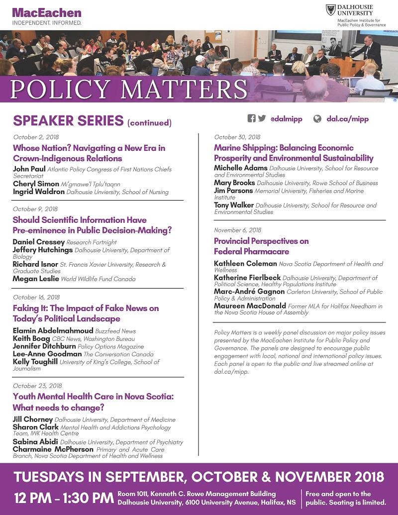 "MacEachen Institute ""Policy Matters"" speaker series"